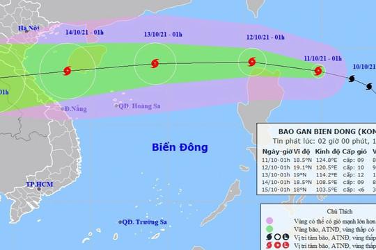 Bão Kompasu giật cấp 11 tiếp tục hướng vào Biển Đông